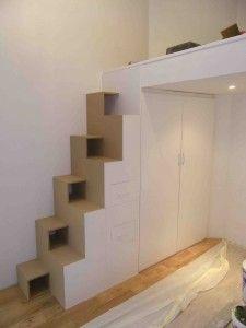 Ensemble escalier japonais & placard sous mezzanine