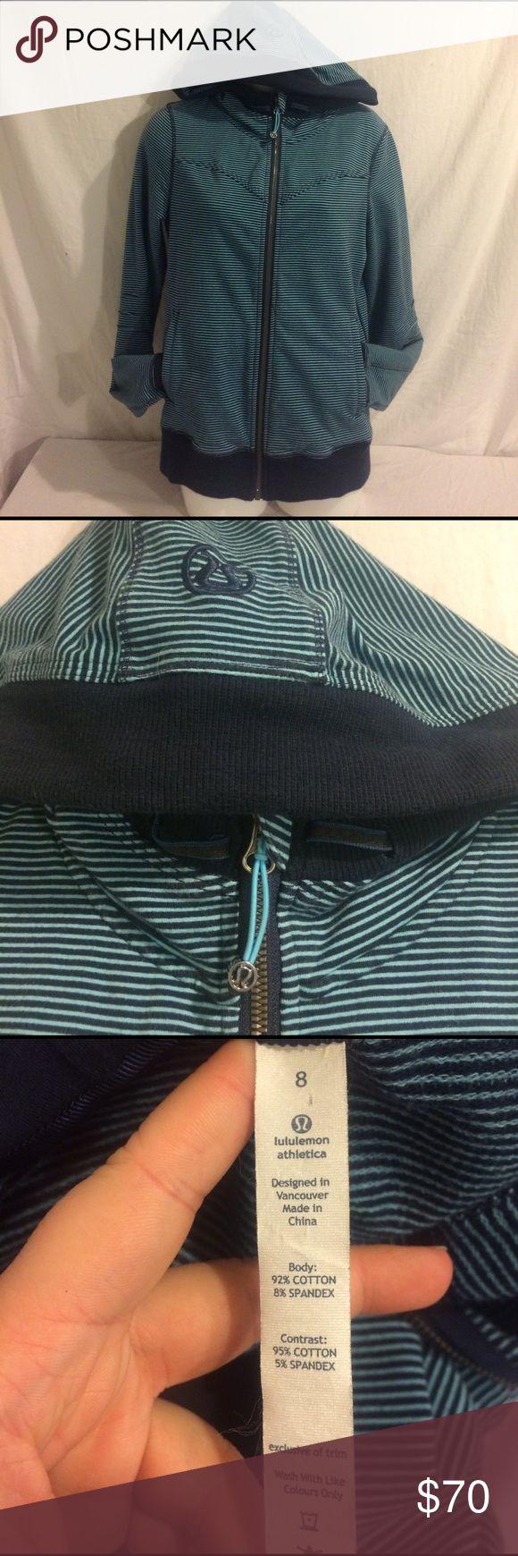 Lululemon Athletica Zip Up Hoodie Authentic, pre-loved Lululemon blue striped zip up hoodie.  Size: 8  Condition: Great lululemon athletica Tops Sweatshirts & Hoodies