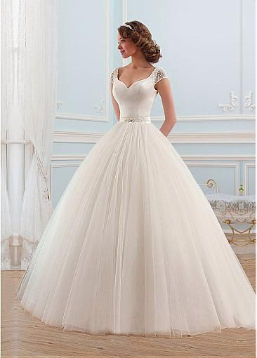 Alluring Tulle V-neck Neckline Ball Gown Wedding Dress With Beadings And Rhinestones.: USD  $159.99 AUD  $ 223.19 CAD  $ 211.17 EUR  €157.13 GBP 111.85