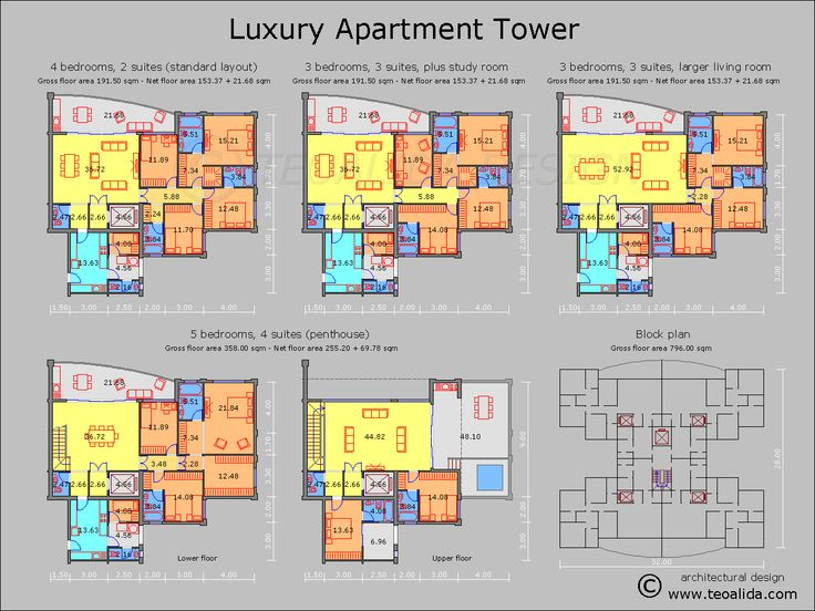 Apartment plans 30200 sqm designed by Teoalida Teoalida