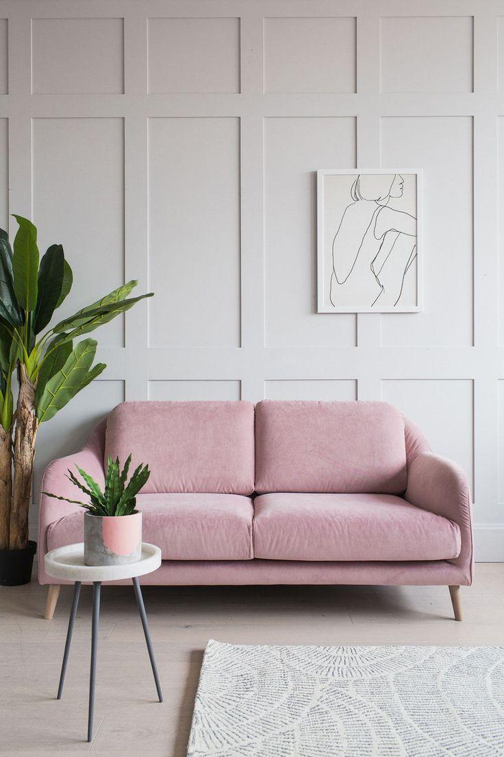 Dusky pink velvet sofa | Rose & Grey | Pink sofa living ...