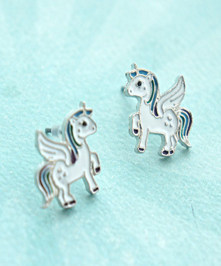 this earrings features a pair of cute unicorns studs. each measures 1.5 cm wide and is securely attached to a silver tone post