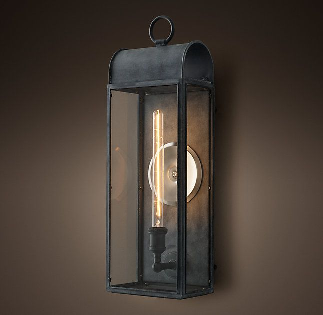 RH's Belgravia Filament Glass Sconce:Lanterns like this once cast a welcoming glow outside 19th-century English homes. Our archtop version replaces the gaslight of that era with an Edison-style filament bulb.