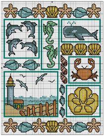 DMC Free Cross Stitch Patterns - Sea Shore Sampler