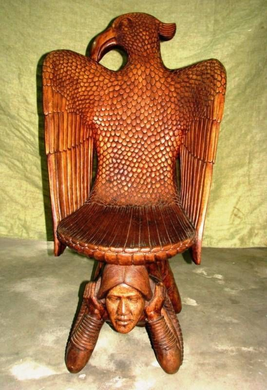 Hand Carved Eagle Woman Chair 1 Of A Kind   Solid Wood