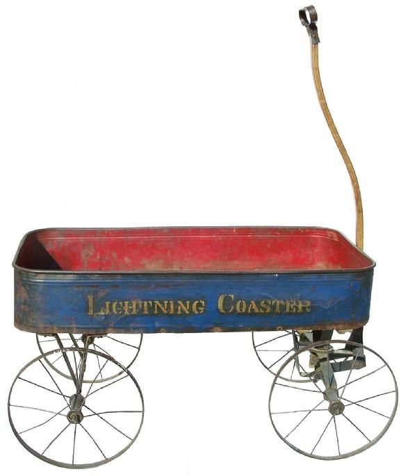 """""""Lighting Coaster""""  - toy wagon with original blue paint"""