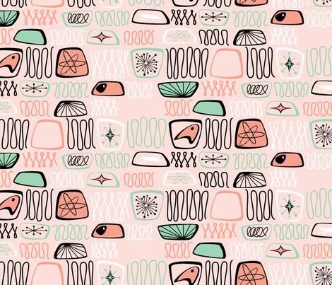 Atomic Abstract Peachy fabric by tuppencehapenny on Spoonflower - custom fabric