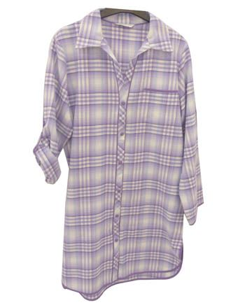 Violet Woven Long Sleeve Brushed Check Nightshirt