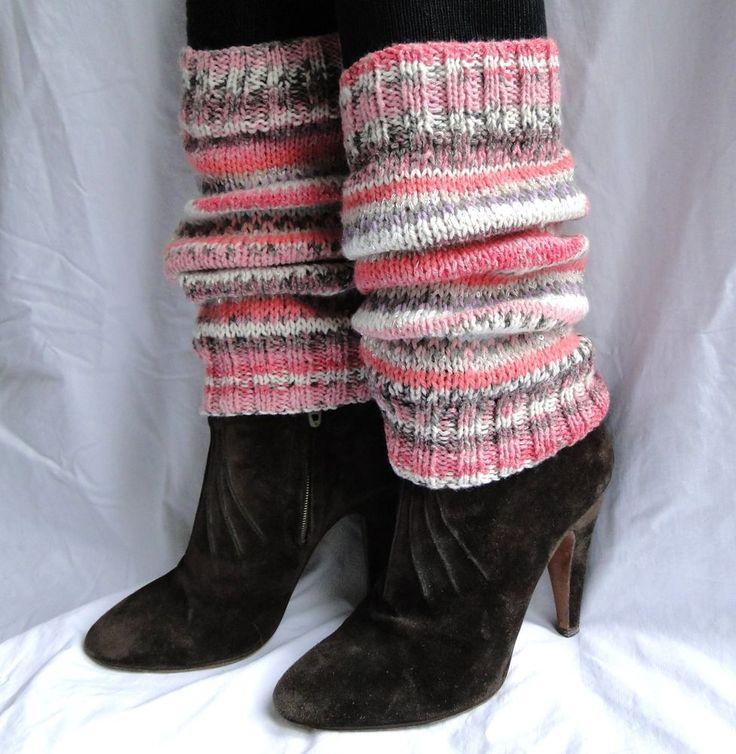 WOMEN S HANDMADE FAIR ISLE WOOL MIX LEG WARMERS DESIGNER LEGGINGS PINK