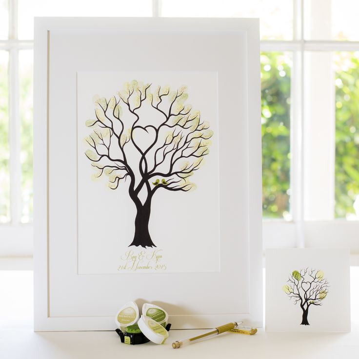 Unity Tree - Green birds guest book for Wedding, funeral or other celebration. Illustrated by Ray Carter - The Fingerprint Tree® Made-to-order, ships worldwide. The Fingerprint Tree®, bespoke gifts you'll treasure!