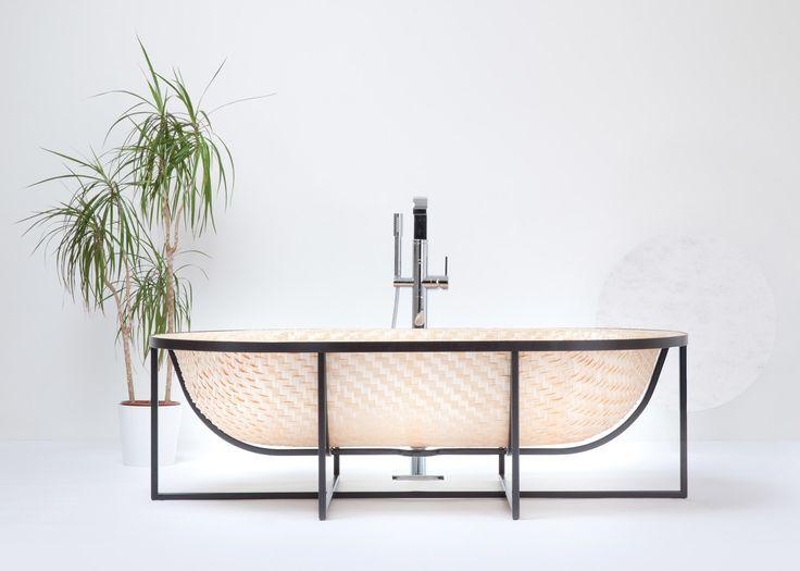 Tal Engel's Otaku bathtub is woven from wood