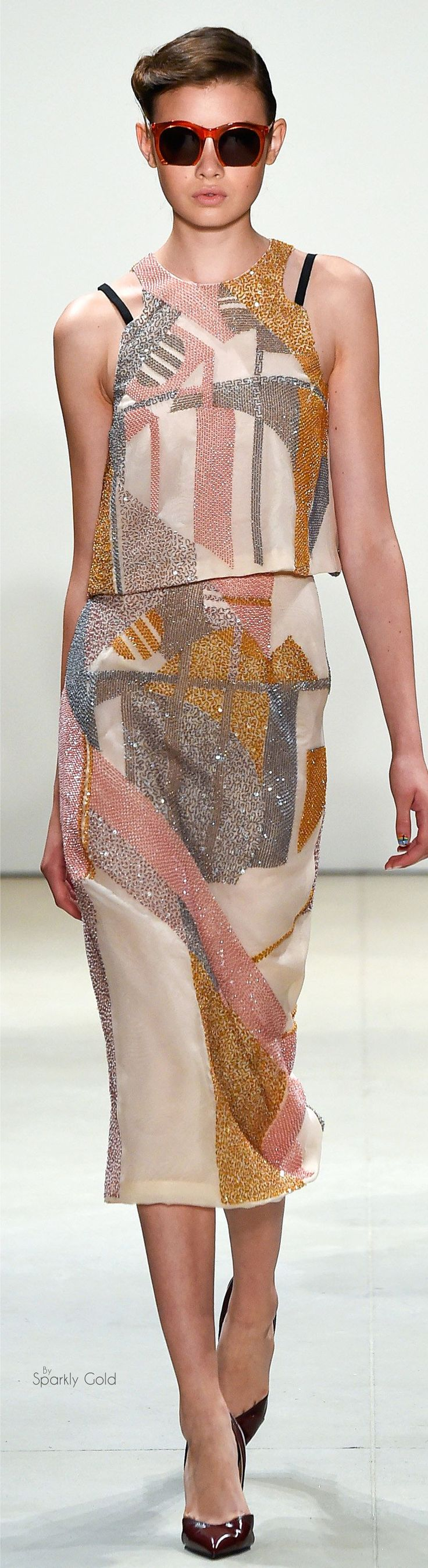Bibhu Mohapatra S-16 RTW: pastel print top & skirt. #collage #cutout #surfacedesign