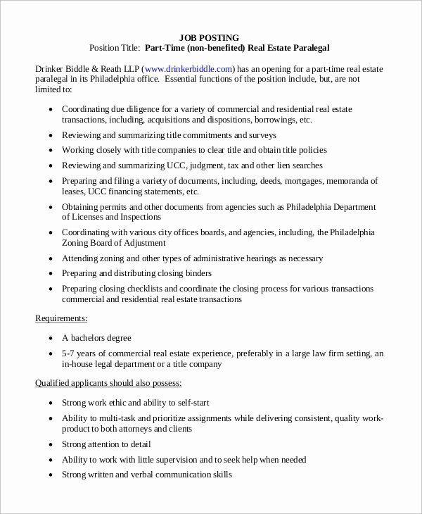 Paralegal Job Description Resume Lovely Sample Legal Assistant Job Description 9 Examples In Docs Assistant Jobs Job Posting Office Assistant Job Description