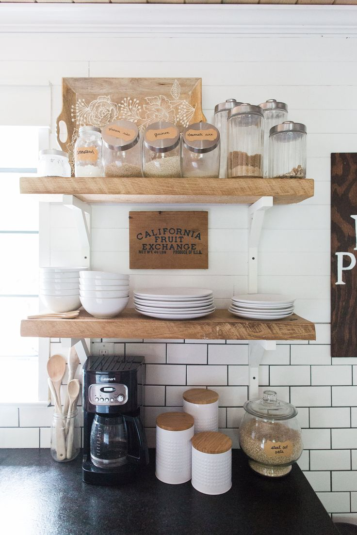 farmhouse kitchen makeover with reclaimed wood open shelving, subway tile, black…