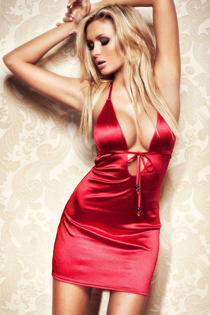 Amazingly hot red satin dress Lucas Tomaszewski ...