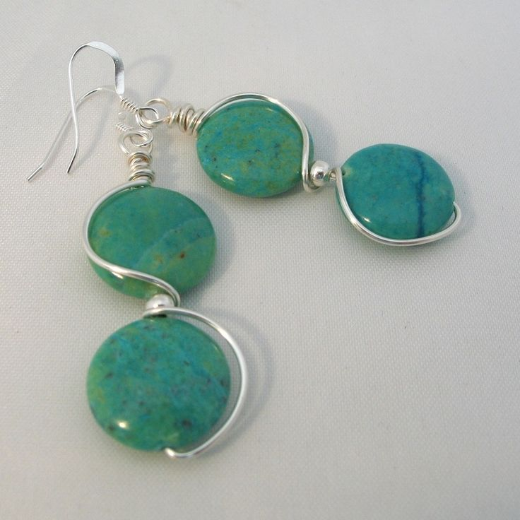 love these earrings===   Blue Green Jasper wire wrapped earrings