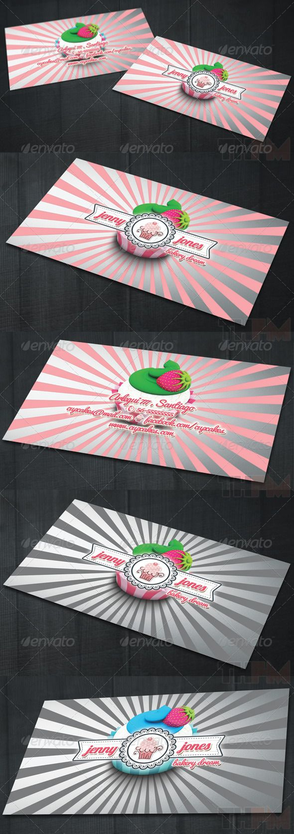 """Bakery and Cupcakes Business Card  #GraphicRiver         2 sided business or visit card template. Ideal for bakery or cupcakes makers. Great for personal and business usage.   Bleeded Fully Editable Layered PSD 300 dpi 3.5"""" x 2"""" / Bleed Size: 3.75"""" x 2.25"""" Print Ready – CMYK   Fonts used can be downloaded free from:  Lobster  .fontsquirrel /fonts/Lobster Pacifico  .fontsquirrel /fonts/pacifico     Created: 4November13 GraphicsFilesIncluded: PhotoshopPSD #TransparentPNG Layered: Yes…"""