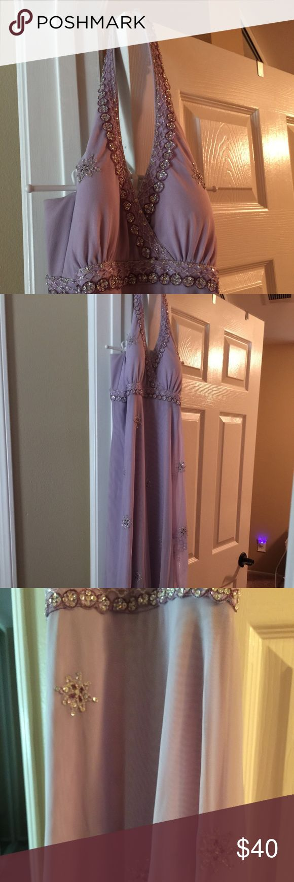 Long Formal Dress Lavender halter long dress. With lots of sparkle jewels. I wore on cruise . Bought at Group USA Group USA Dresses Prom