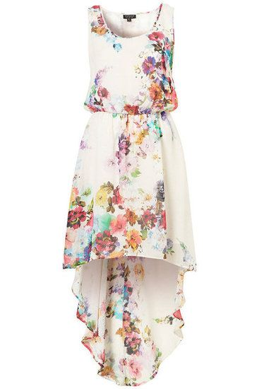 Be the Life of the Party, For Less: Shop 25 Party-Ready Pieces Under $150: We love the watercolor printing on this asymmetrical-hem frock.    Topshop Bright Blossom Dip Hem Dress ($92)