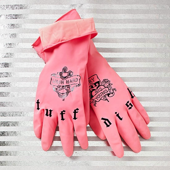 Tatted & Clean! Washing the dishes will feel a littler cooler while wearing tattooed rubber gloves! ($12) #giftidea