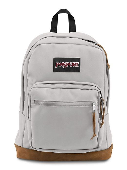The new classic JanSport Grey Rabbit Right Pack backpack from the features a laptop sleeve and the signature suede leather bottom.