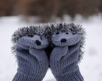 Mitones guantes erizos, manoplas de punto, de punto erizo, tejido a mano guantes, вязаные варежки