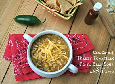 Slow Cooker Turkey Tomatillo, and Pinto Bean Soup with Corn from Everyday Maven; this sounds like a grat idea for leftover turkey.  [via Slow Cooker from Scratch] #SlowCookerThanksgiving