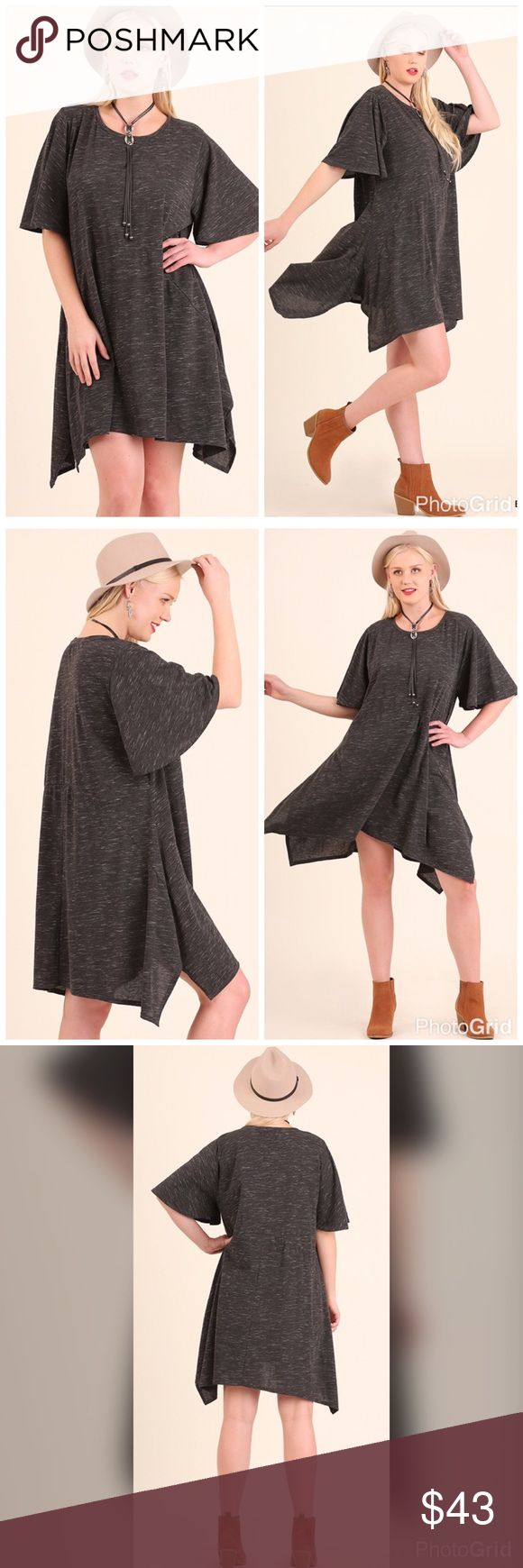 💖PLUS💖NEW💖The A Dress Short sleeve Asymmetric Dress with Flutter sleeves. 55% Cotton 45% Polyester. Dresses