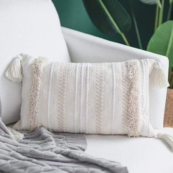 Boho Pillow Covers 12 X 20w Tassel Cream Throw Pillow Etsy In 2020 Boho Throw Pillows Cream Throw Pillows Decorative Throw Pillow Covers