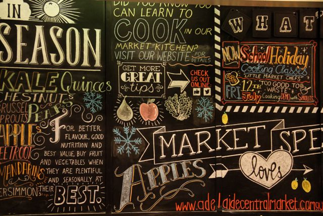 Chalkboard with changing seasonal offers