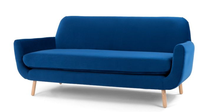 Jonah 3 Seater Sofa, Cobalt Velvet | made.com