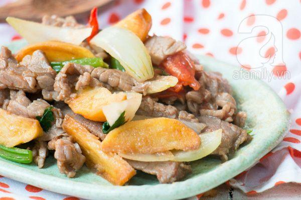 Cách làm thịt bò xào khoai tây, món ngon từ thịt bò, thịt