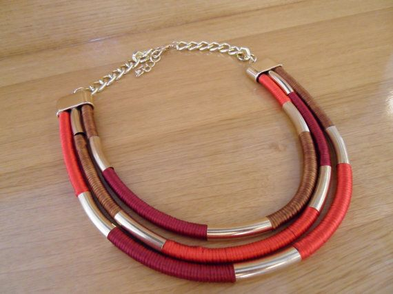 Red Multi strand colorful necklace  Rope statement by marizasShop