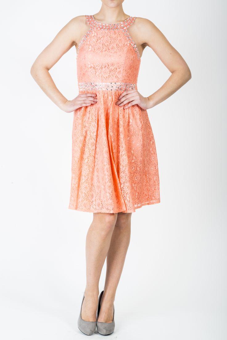 Kjole Donna, nydelig blondekjole. Korallfarget.
