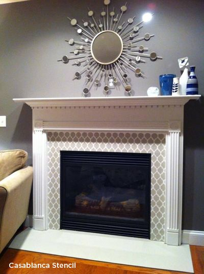 Mantels Fireplaces and Cozy Stenciled Dcor  Geometric Allover Stencils  Stencil decor