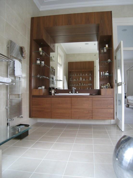 Bespoke bathroom joinery in walnut