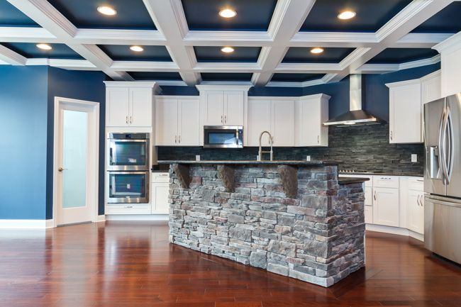 blue and white coffered ceiling, stone island, white ...