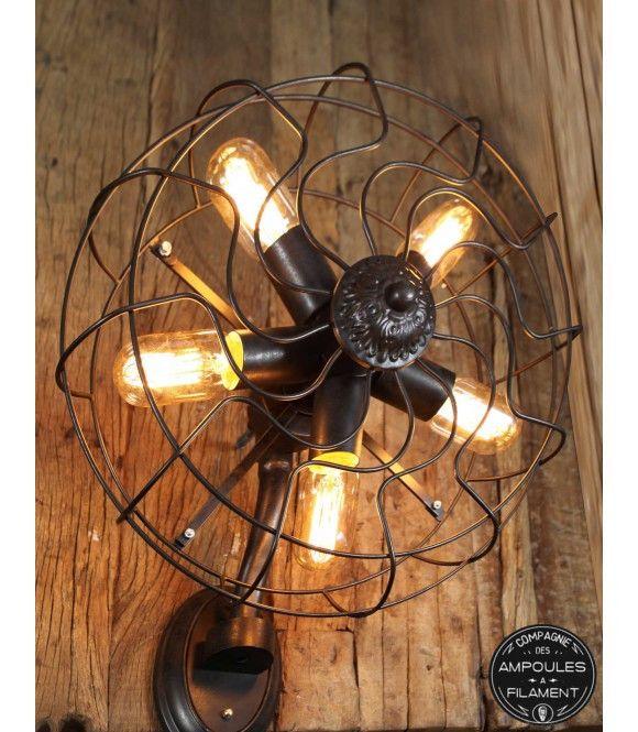 Applique murale style ventilateur vintage #Luminaire #Edison #Ampoule #filament #vintage #rétro #déco #design #lampe #luminaire #VintageIndustriel