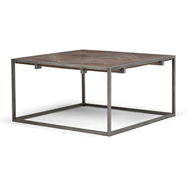 Simpli Home Avery Aged Elmwood Square Coffee Table