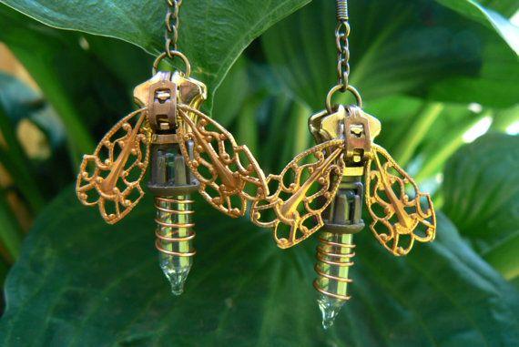 Steampunk Earrings  Zipper Earrings  Firefly by PeteAndVeronicas, $25.00