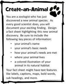 create an animal and create a plant – perfect for animal adaptations and habitats/ecosystems   best stuff