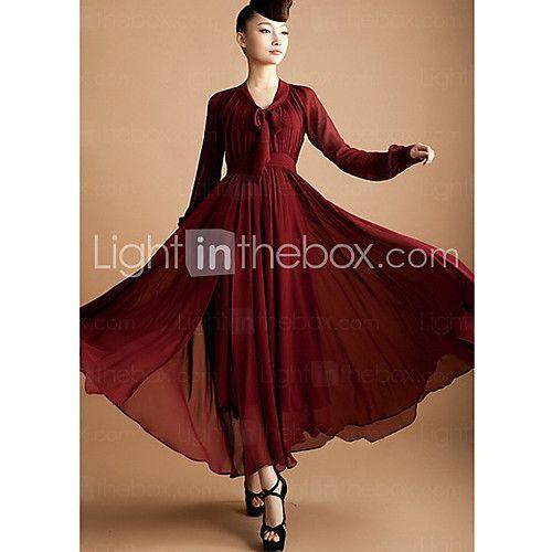 la simplicité de la robe maxi en mousseline de soie de couleur pure des femmes - EUR €23.45