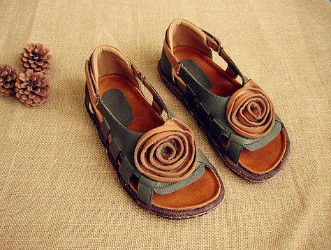 En cuir creux sandales chaussures en cuir chaussures par HerHis