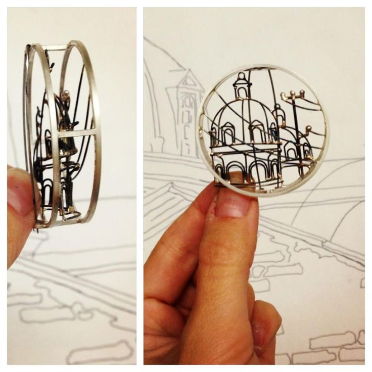 3D wire architecture sculpture brooch by Caitie Sellers Jewelry #design #art