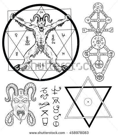 Magia fija con el diablo, Satanás, estrella de cinco puntas y símbolos místicos.  Colección de ilustraciones de dibujo con símbolos místicos y ocultos dibujados a mano.  Halloween y el concepto esotérico