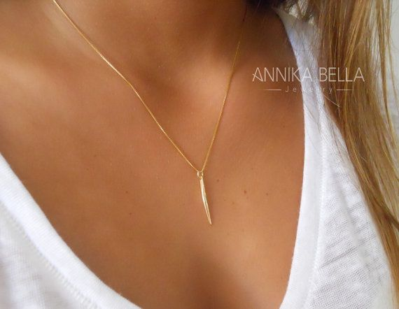 Hey, I found this really awesome Etsy listing at https://www.etsy.com/listing/205768178/delicate-gold-spike-necklace-gold-filled