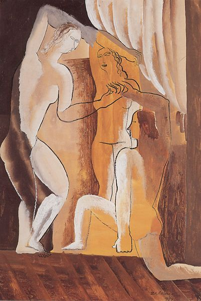 'Trois femmes dans un intérieur' (1927) by Belarusian-born French artist Ossip Zadkine (1890-1967). Gouache on paper, 57 x 39 cm. via Zadkine Research Center