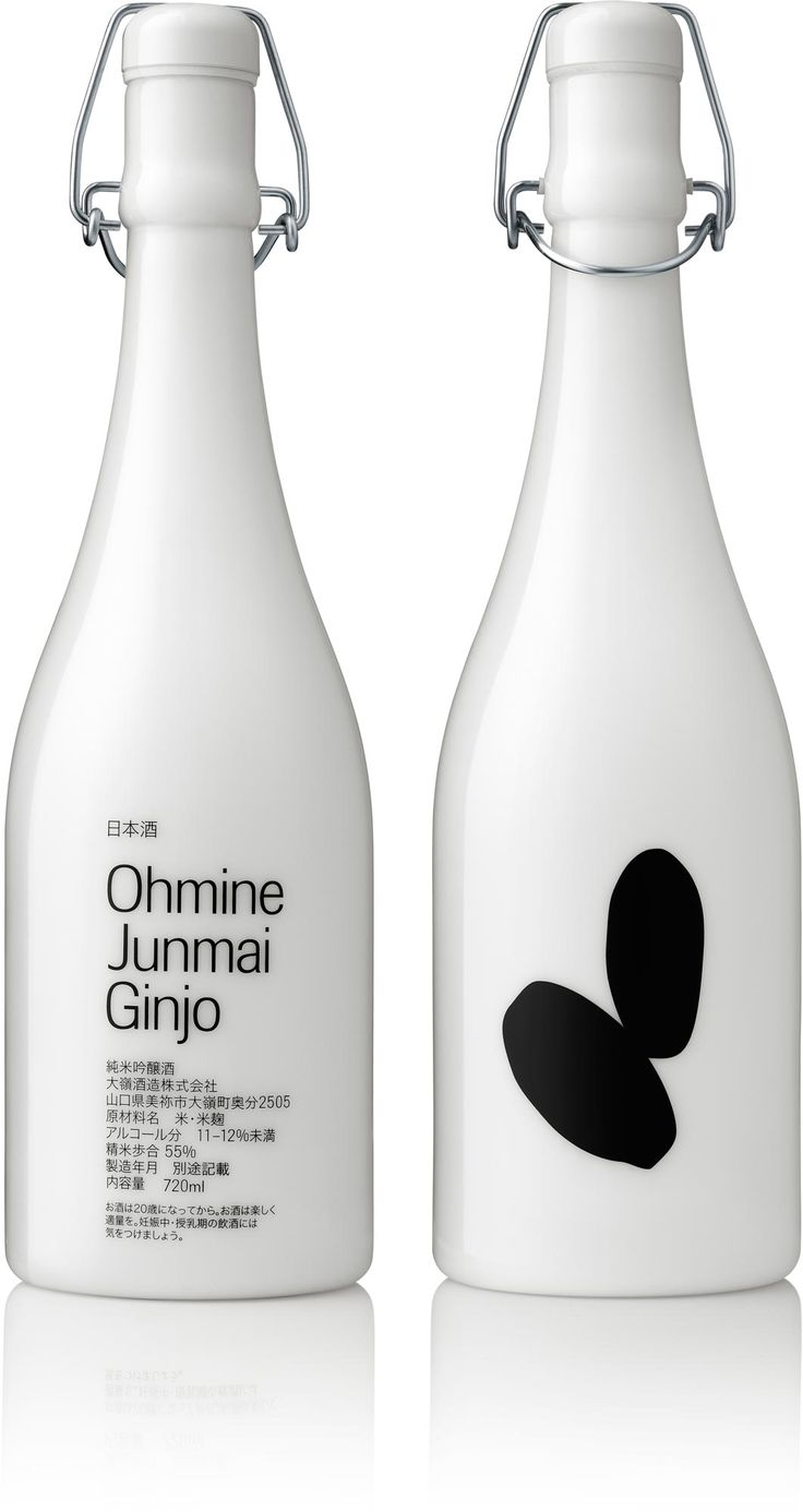 """Solution  Opaque, opal-white glass keeps Ohmine sake completely insulated from direct light, and allows the product name to be screenprinted directly onto the glass, instead of a label. To convey the three qualities of sake, we drew on the fermentation process, in which rice grains are """"polished"""" to remove their outer bran. The more bran is removed, the less rice is required, and the higher the quality of sake."""