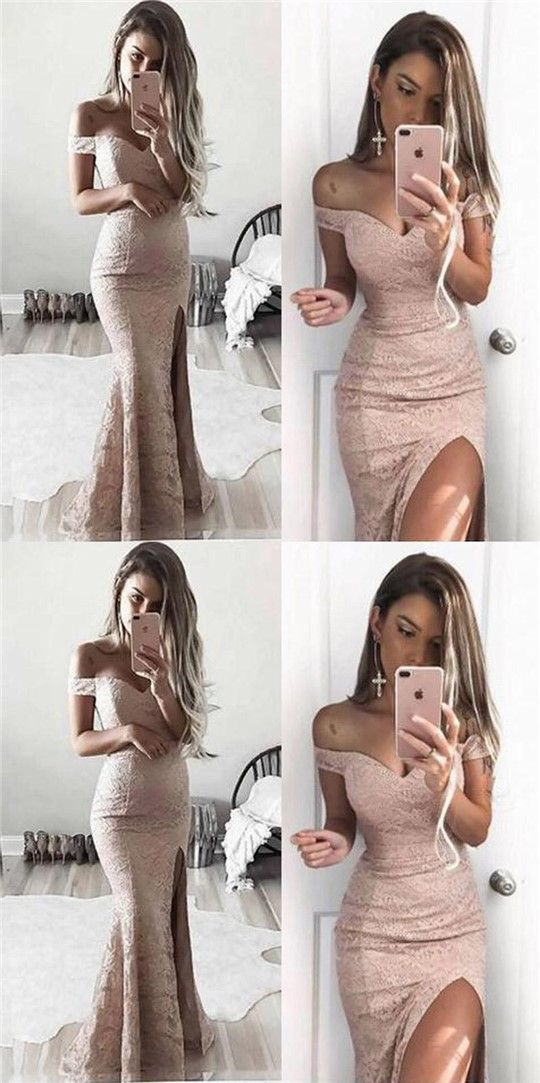 Off Shoulder Lace Mermaid Sexy Side Slit Prom Dresses, Long Prom Dresses, Evening Dresses, PD0326