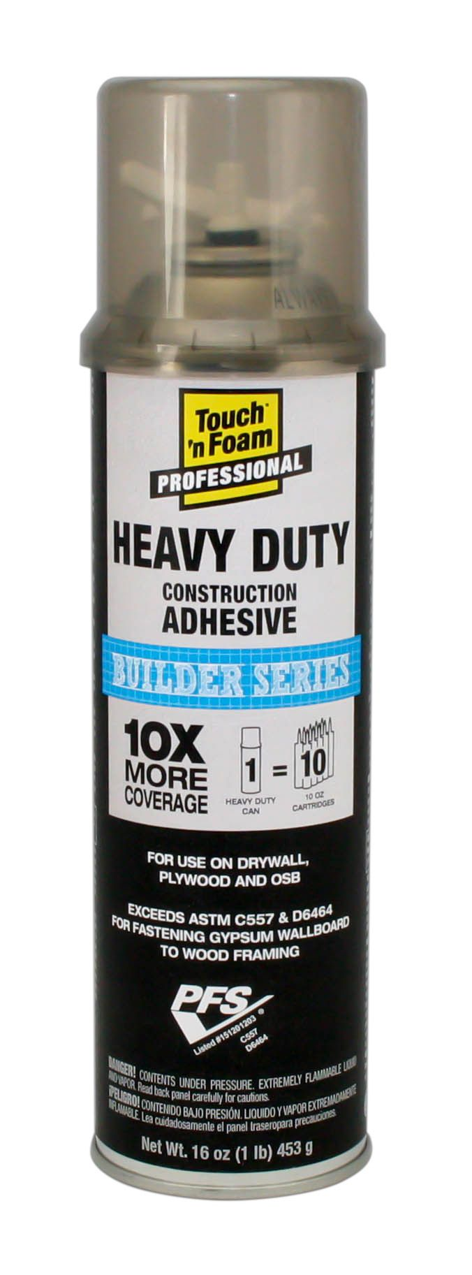 Yields 10X more than traditional cartridge construction adhesive Applies as a ready-to-use straw foam Cures quickly Provides dense, super-strong bond, won't produce squeeze out Use on drywall, plywood, joists, steel, aluminum, pressure-treated lumber, PVC, OSB, and painted surfaces Installs faster Use fewer fasteners Bridges minor gaps on irregular surfaces Prevents nail pops Improves soundproofing No odor